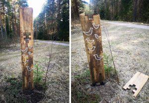 Išniekinti Pasvalio Žadeikių miško partizanų atminimo ženklai | Pasvalio krašto muziejaus nuotr.