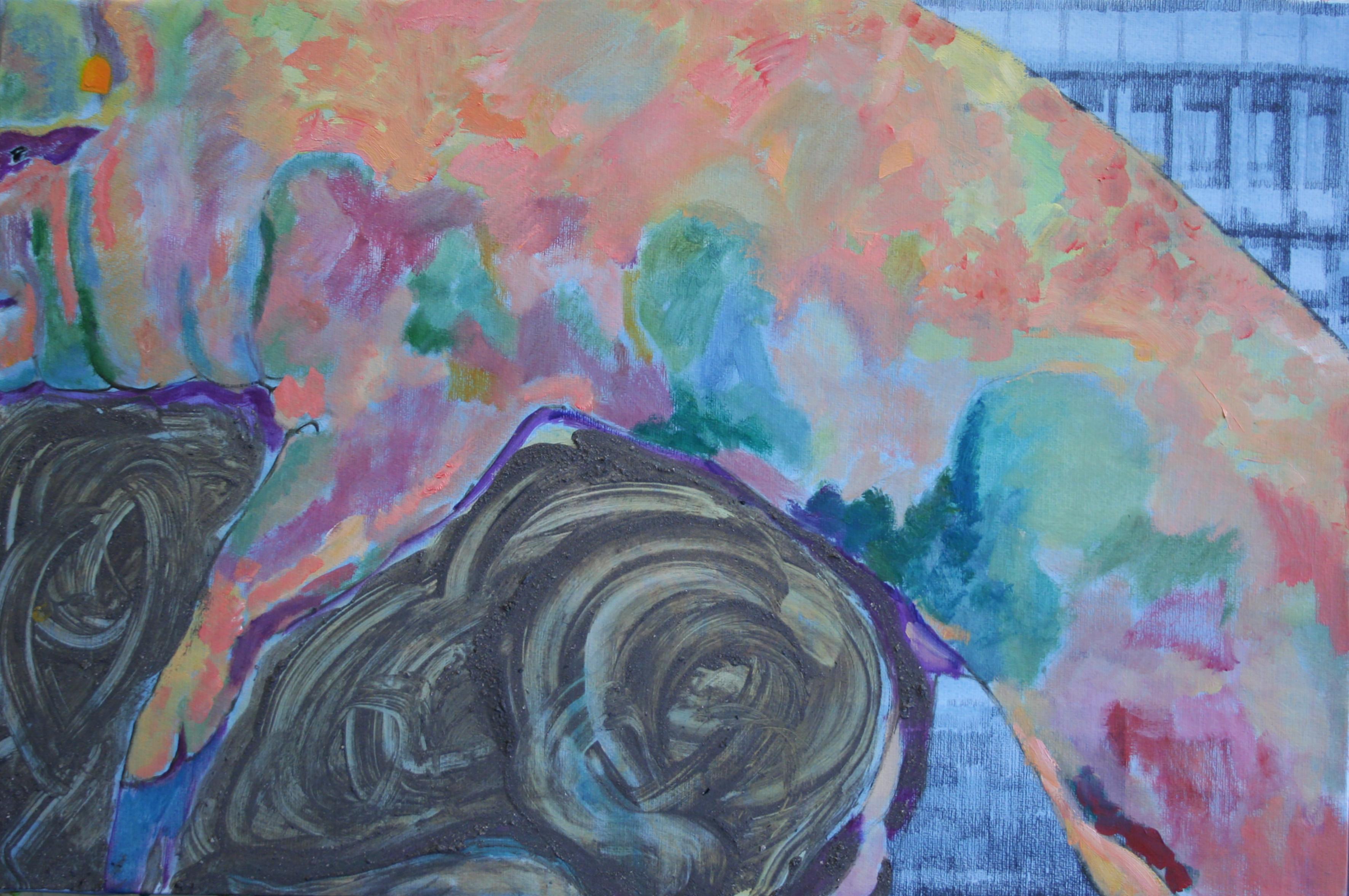 Ant sofos, 60x90, grafitas, aliejus, maišyti su pelenais klijai, ant popieriaus, 2020   Rengėjų nuotr.