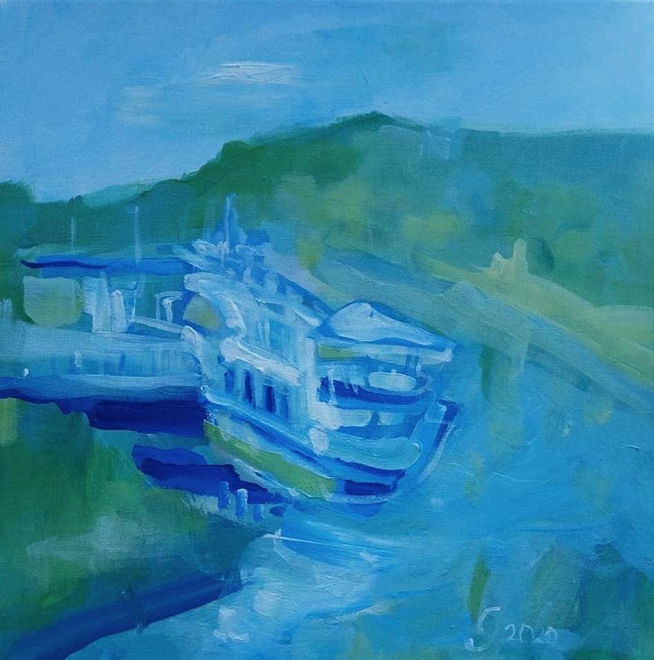 """Menininko Jono Grundos tapytas paveikslas """"Druskininkų laivas""""   Ignalinos rajono savivaldybės nuotr."""