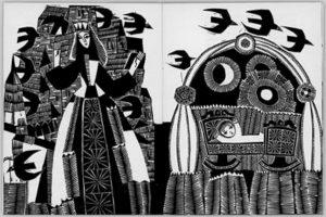 """Iliustracija lietuvių liaudies pasakai """"Dvylika brolių, juodvarniais lakstančių"""" (Vilnius, 1967) Iliustravo Danutė Narvydaitė (1932–1985). Nacionalinio M. K. Čiurlionio dailės muziejaus nuosavybė"""