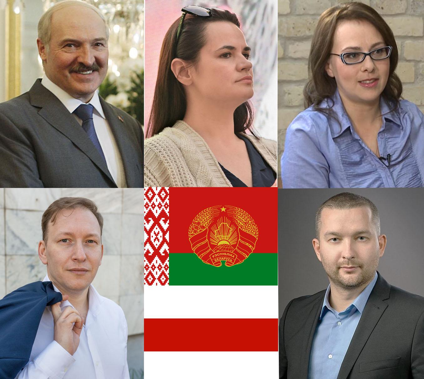 Kandidatai į Baltarusijos prezidentus 2020 m.: Aleksandras Lukašenka, Svetlana Tichanovskaja, Anna Konopackaja, Andrejus Dmitrevas, Sergejus Čerčenis   Alkas.lt koliažas