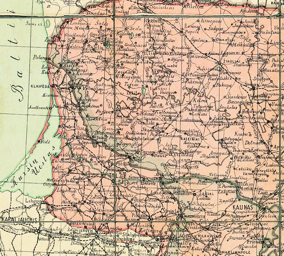 Manoma, kad lobis netoli Tauragės galėjo būti paslėptas prieš Pirmąjį pasaulinį karą – vėlyviausia jame buvusi moneta yra 1912 metų 1911 m. Lietuvos žemėlapis (fragmentas) | Lietuvos nacionalinio muziejaus nuotr.