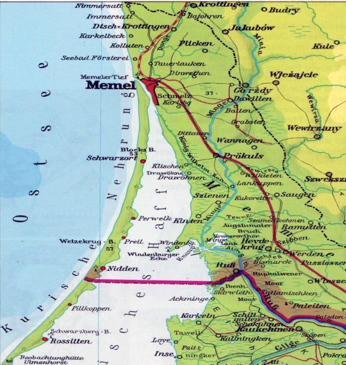 Vokiečių sudaryto žemėlapio fragmentas su pavaizduota sienos padėtimi Kuršių mariose | autoriaus nuotr.