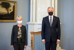 Isabelle Moret ir Gitanas Nausėda | prezidentas.lt nuotr.