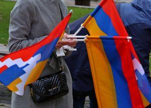 Kalnų Karabacho palaikymo akcijos dalyviai | Alkas.lt, A. Sartanavičiaus nuotr.