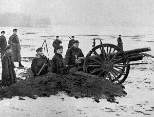 Giedraičių mūšis. Lietuvos kariuomenės 6 baterijos 1 būrio pozicija netoli Širvintų (1920 11 19) | vle.lt, archyvinė nuotr.