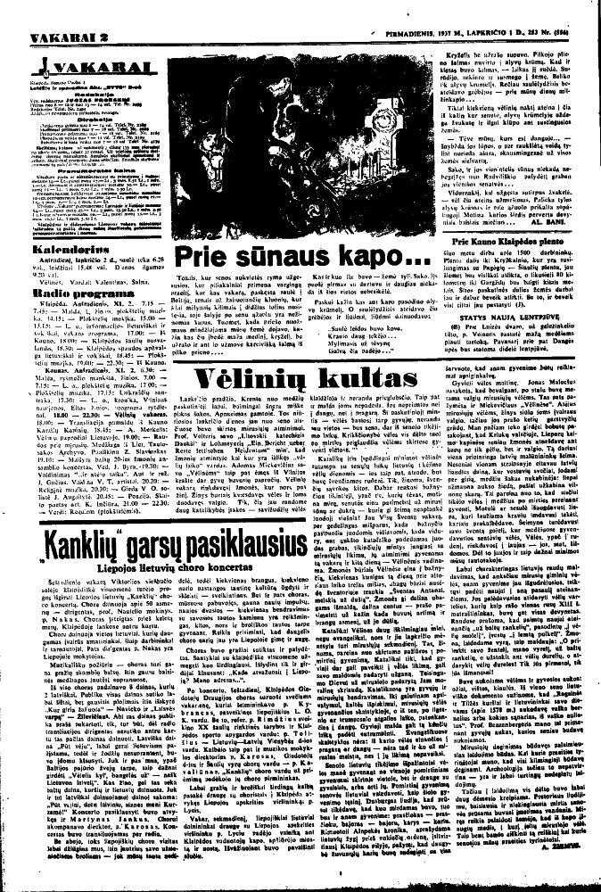 "Žiemys A. Vėlinių kultas. ""Vakarai"", 1937, lapkr. 1, p. 2 | lnb.lt nuotr."
