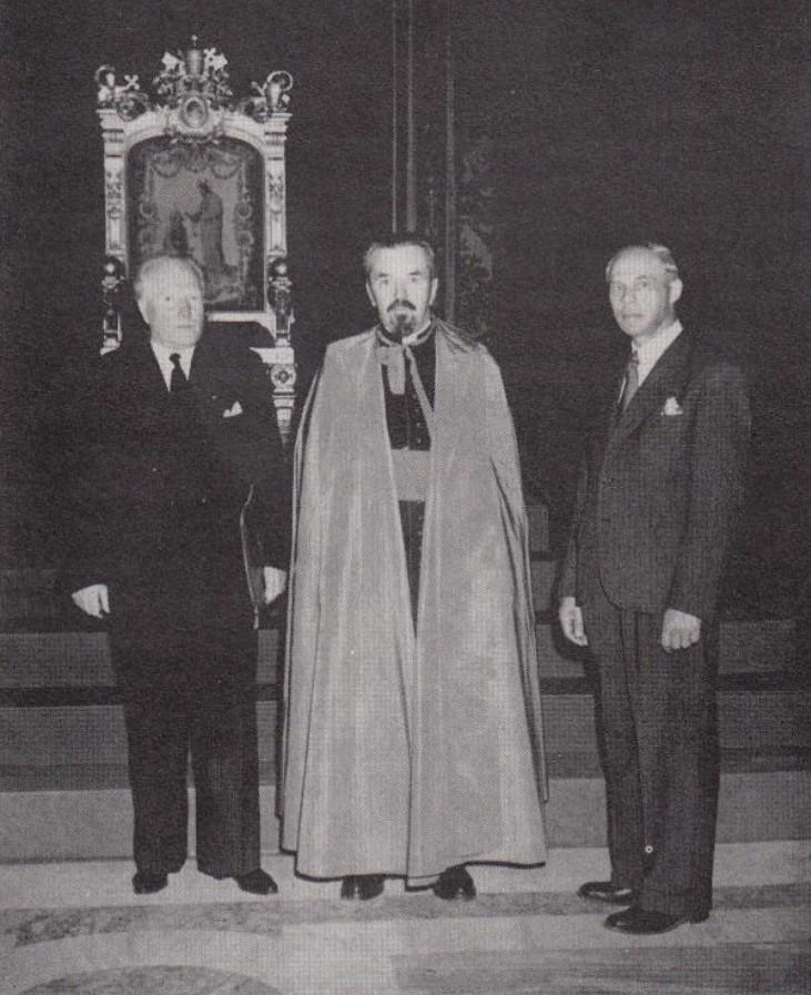 Po audiencijos pas Šv. Tėvą Pijų XII Vatikane: VLIK'o, vykdomosios tarybos politinės komisijos nariai – Vaclovas Sidzikauksas, prel. Mykolas Krupavičius, Juozas Brazaitis. 1950 m. | aidas.lt nuotr.