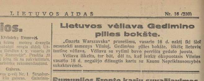 Lietuvos aidas, 1928 vasario 20 diena   LNM nuotr.
