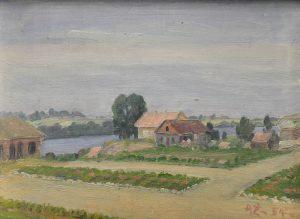 """dailininko A. Žmuidzinavičiaus nedidelio formato peizažas """"Trobėsiai Dauguose"""" (1954)   Vilniaus aukciono namų nuotr."""