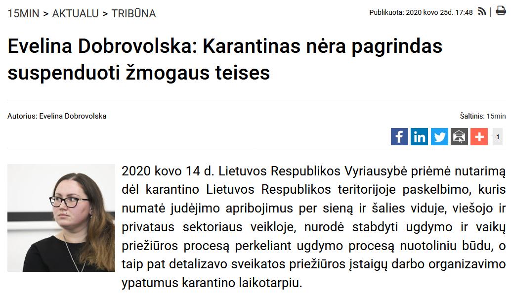 Screenshot_2020-12-14 Evelina Dobrovolska Karantinas nėra pagrindas suspenduoti žmogaus teises