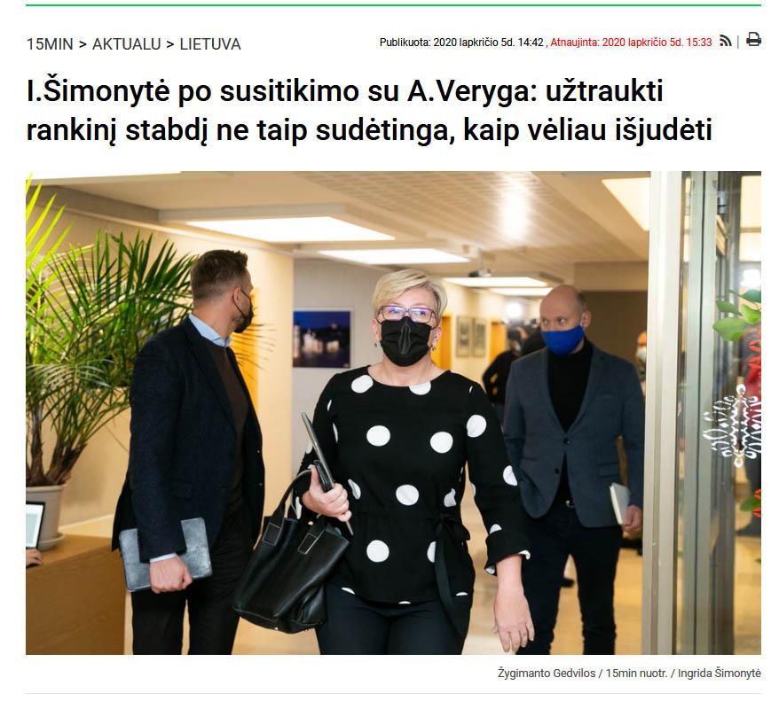 Screenshot_2020-12-14 I Šimonytė po susitikimo su A Veryga užtraukti rankinį stabdį ne taip sudėtinga, kaip vėliau išjudėti