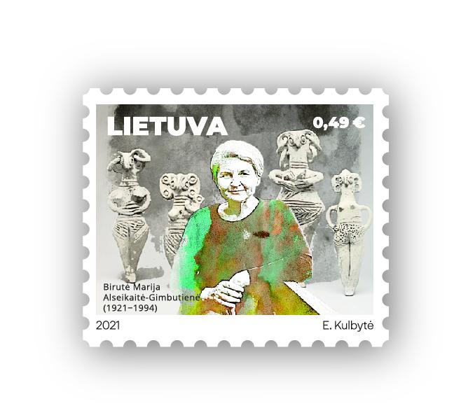 Pašto ženklas B. M. Alsekaitei-Gimbutienei   Lietuvos pašto nuotr.
