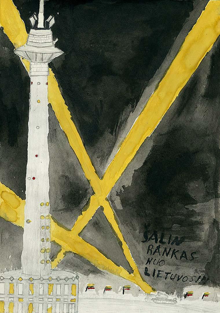 Virtualioje galerijoje – prieš 30 metų kurti piešiniai, vaizduojantys Sausio 13-ąją vaikų akimis. Aut. Einikis Darius, 9 b klasė. Lietuvos nacionalinis muziejus | lnm.lt nuotr.