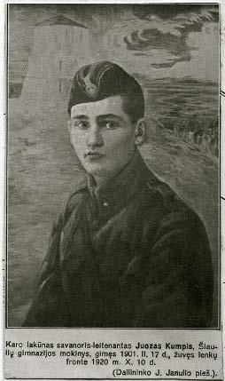 Atvirukas su Šiaulių gimnazijos mokytojo Jono Janulio nupieštu ltn. Juozo Kumpio portretu