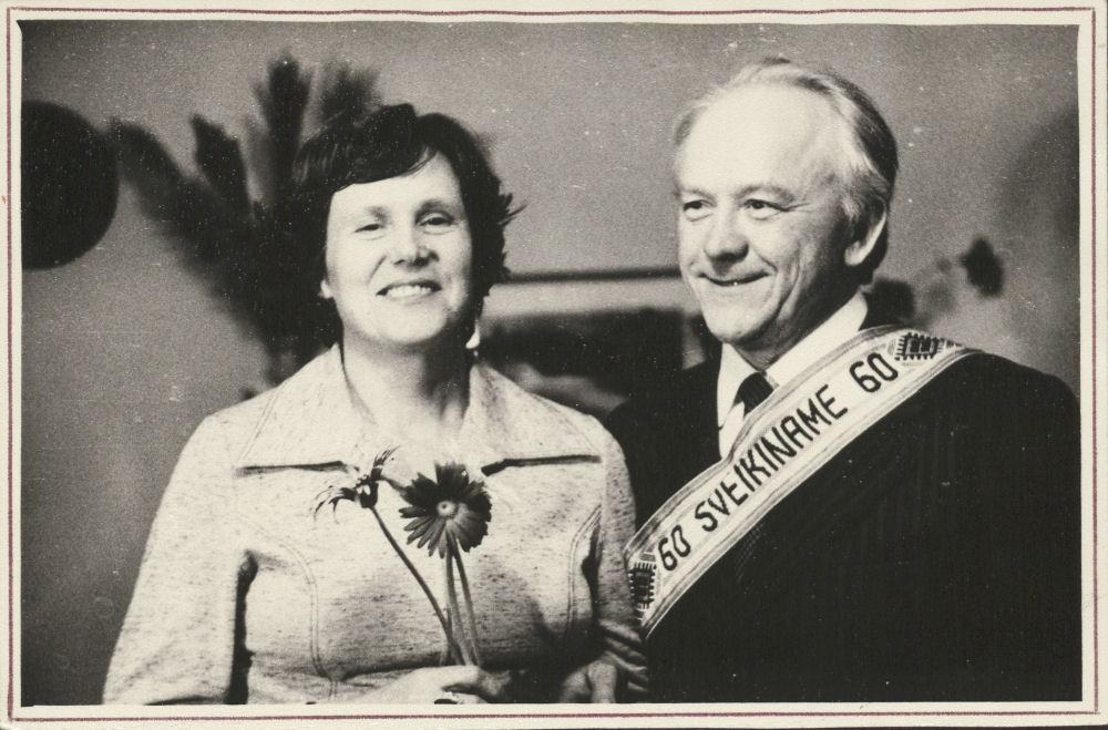 Elena Moncevičiūtė-Eringienė ir Kazys Ėringis. Kazio Ėringio 60 -asis gimtadienis. 1981 m. | LMAVB RS F335-1987 nuotr.