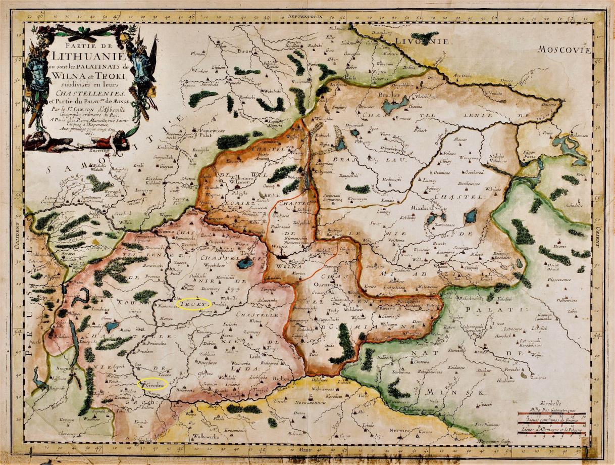 Vilniaus ir Trakų vaivadijos prancūzų kartografo N. Sansono žemėlapyje | wikipedia.org nuotr.