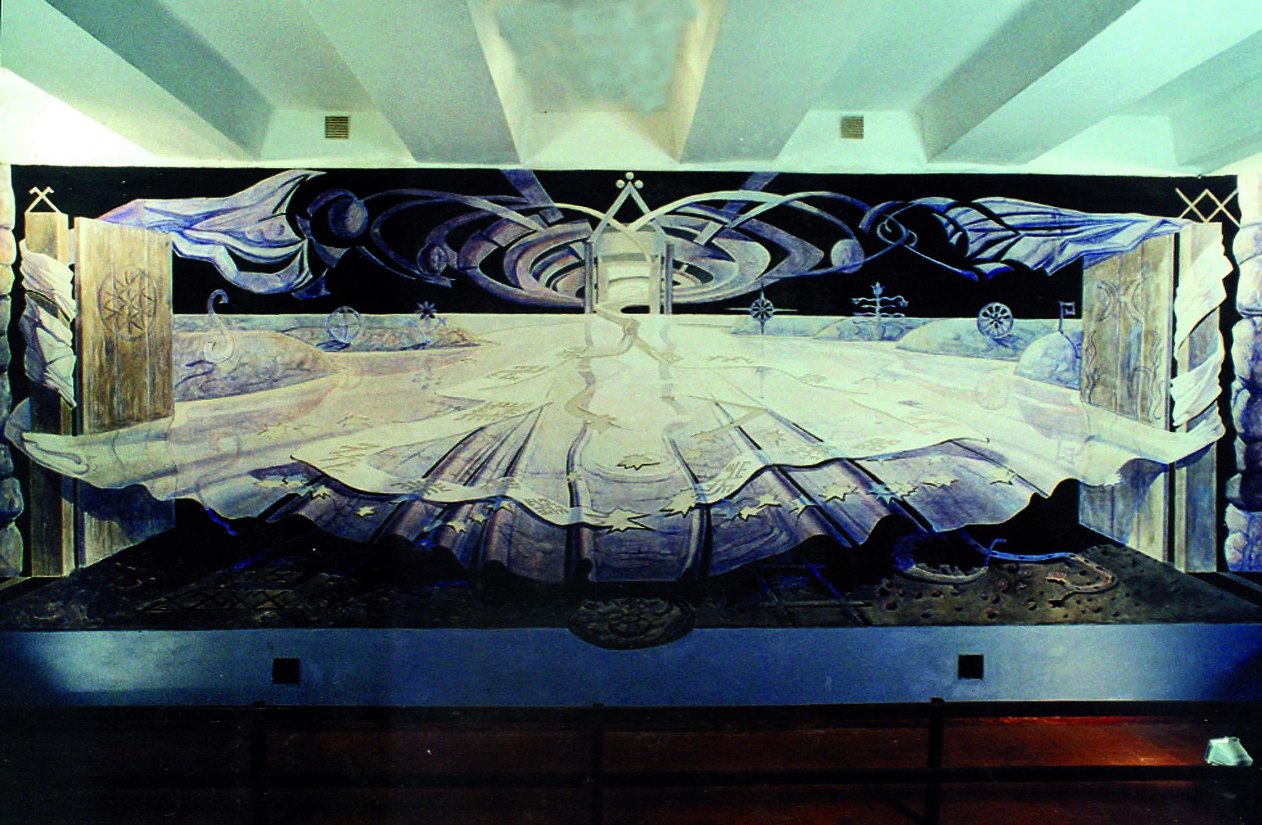 V. Poška. Lietuvos etnokosmologijos muziejuje Molėtų r. Atspindžiai, technika - freska ir sgrafitas, 2,5xx6,5 m., 1998 m. | rengėjų nuotr.