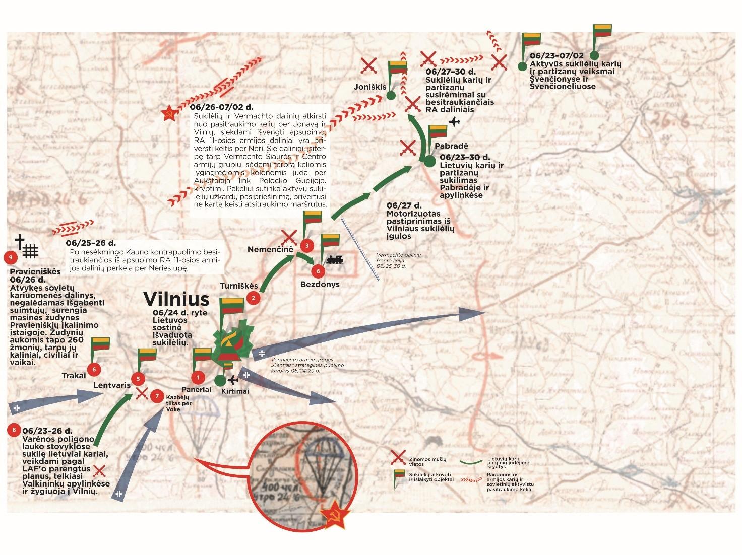 Karo veiksmai Rytų Lietuvoje 1941 m. birželį. | V. Skolevičiaus pieš.